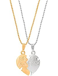 Shining Jewel Two Tone Gold And Silver Broken Heart Pendant With Chain (SJ_2133)