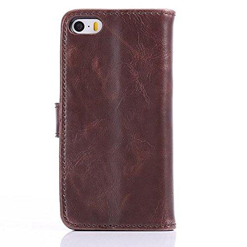 Migliore Choise Flip Stand Case per iPhone 5S & SE Faux pelle portafoglio Shell orizzontali Folio Cover w Kick Stand Card Slots Magnetico Chiusura regalo perfetto vino