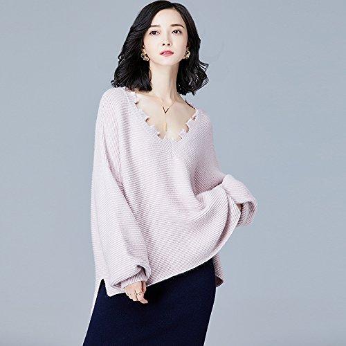 gaolim unregelmäßiger Damen V Neck Long Sleeve Women Shirt größer aus großen Werften Strickmuster Pullover weiblich L Rosa (V-neck Crochet Top Trim)
