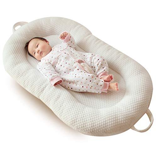 YYRCP Baby-Nest, Cocoon Nido Reducer Für Lounger, Bett Kinderbett Stoßstange Multifunktionale Nest Baby Matratze, Öko-Tex Standard Kissen, Futter Aus 100{ab0a7c3d9edfeb2d2f5e6e465a73832c725e88c9cd495c7bae2b5b1afe5b6884} Baumwolle, Maschinenwaschbar, 98×58Cm,Cream