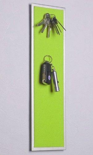 Magnet - Schlüsselbrett aus Edelstahl (42 x 12 cm) mit Filzbezug in grün