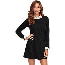 3953d3eb19 SOLY HUX Mujer Vestidos Corto Mangas Largas Color Negro para Fiesta Trabajo