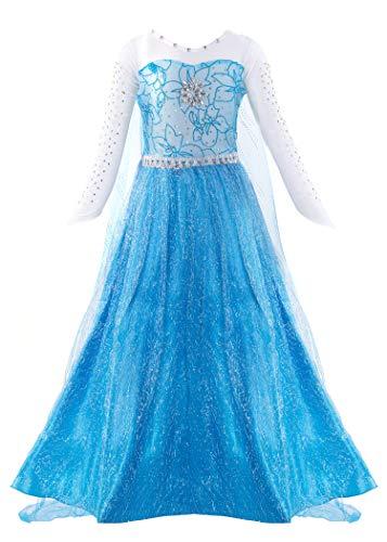 KABETY Mädchen Prinzessin Anna Kleid Schnee königin ELSA Kostüm Party Kleid,4 Jahre (Hersteller Größe:110) ,Blau (Für 4 Kostüm)