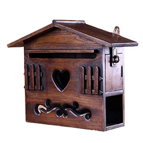 Blwx - cassetta delle lettere - teak, cassetta postale multifunzione a forma di piccola casa scolpita a parete, adatta per ville, cortili, case - 25x9.5x26.5cm cassetta della posta