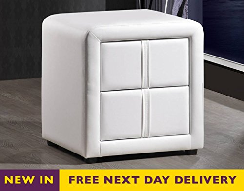 Time Living Monaco Two Drawer White Faux Leather Bedside Cabinet