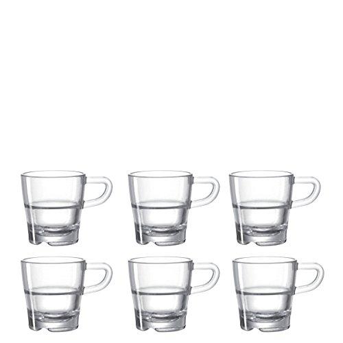 LEONARDO Espressotassen Senso Kaffeetassen mit Henkel, Glas-Tassen stapelbar, für 40 bis 70-ml Füllmenge, 6-er Set