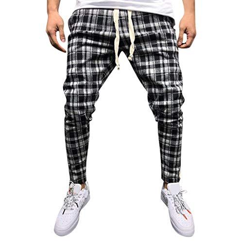 Zolimx Sommer Fashion Casual Männer Slim Hose Herren Atmungsaktiv Plaid Straps Füße Hosen - Plaid Strap