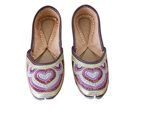 Kalra Creaciones Tradicional de la India de la Mujer Piel con Bordado Zapatos de Casual, Color Amarillo...