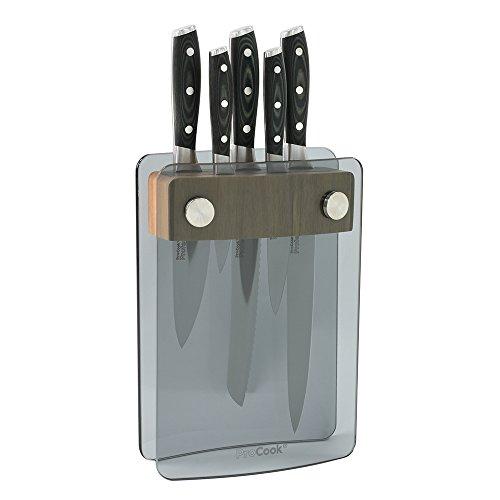 ProCook Professional X50 | Messerset | 5-teilig | mit Messerblock aus getöntem Glas