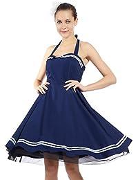 maboobie Robe Sans Manche Dos Nu Style Vintage Retro Bleu Maritime pour Femme M L