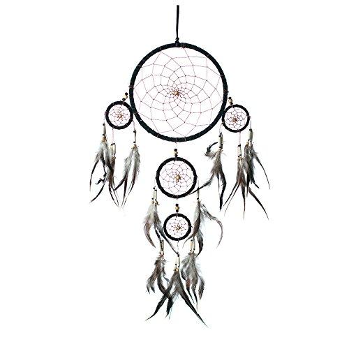 atrapasueos-a-mano-tradicional-genuino-gamuza-cuero-negro-22cm-de-dimetro-y-60cm-de-largo
