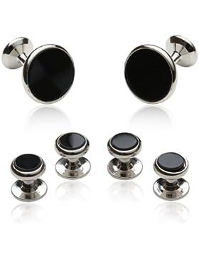 Onyx und Silber Manschettenknöpfe Set