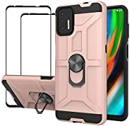 EasyLifeGo for MotorolaMotoG9Plus Kickstand Case with Screen Protector Tempered Glass [2 pieces], Hybrid He