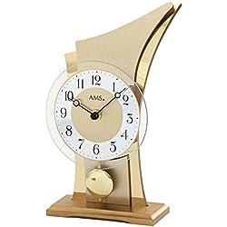 AMS Uhrenfabrik T1137 Wooden Case/Brass Clock, Silver