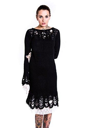 Killstar Damen Gothic Langarm Midi Kleid - Lestat Knit Strickkleid Schwarz (XL)