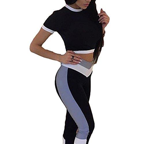 Femmes Survêtement Sports Costume Vêtements Ensembles Dames Aptitude Gym Yoga Costume Vêtement de Sport Court Manche + leggings Maigre Tenues Ensemble S - L Kootk Blanc