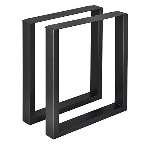 [en.casa]®] 2 x Conjunto de Patas de Mesa - Set de 2X Patas de Mesa - Metal - Patas de los Muebles - 60 x 72 cm - para Mesa de Comedor - Armazón de Mesa - con protección para Suelo - Negro