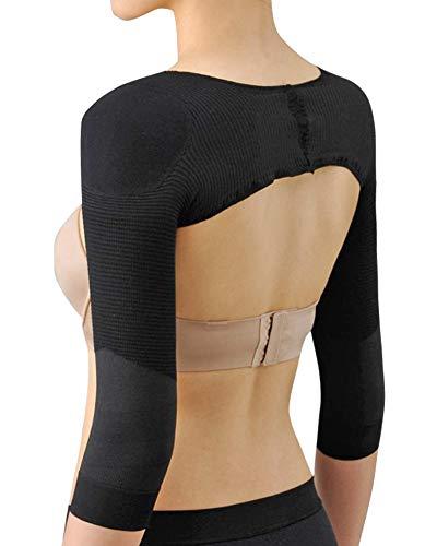 senza cucitura maglia modellanti che dimagrisce compressione braccio manica per donna nero l