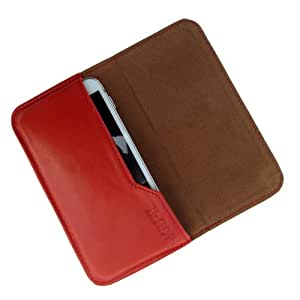 i-KitPit : Genuine Leather Flip Pouch Case Cover For Videocon A15+ (ORANGE)