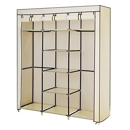 Songmics® Groß XXL Kleiderschrank Faltschrank Wäscheschrank mit 2 Hakenstange beige 175 x 150 x 45 cm Drei hochrollbare Türen RYG12M