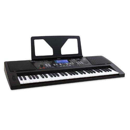 Schubert MIDI-USB-Keyboard 61 Tasten mit Pitchwheel + Notenhalter (128 Instrumente / Voices, 128 Begleitrhythmen, 4 Speicherbänke, Lernfunktion) schwarz