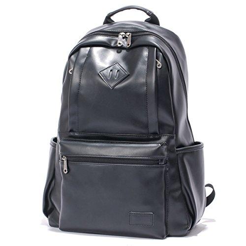 """Kvolity Classic Unità Zaino in Pelle Unisex Informale Scuola Dell'unità di Elaborazione Dell'annata Student Laptop Backpack (14 """") per la Corsa D'escursione di Campeggio Zainetto 48 cm * 15cm * 38 CM (Nero)"""