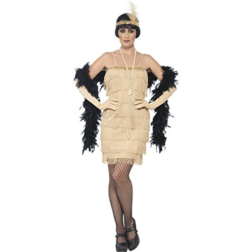 Dress Kostüm Golden - Amakando Charleston Kleid - S (34/36) - 20er Jahre Kostüm Twenties Outfit Gatsby Fransenkleid Minikleid Goldene Zwanziger Goldenes Flapper Dress