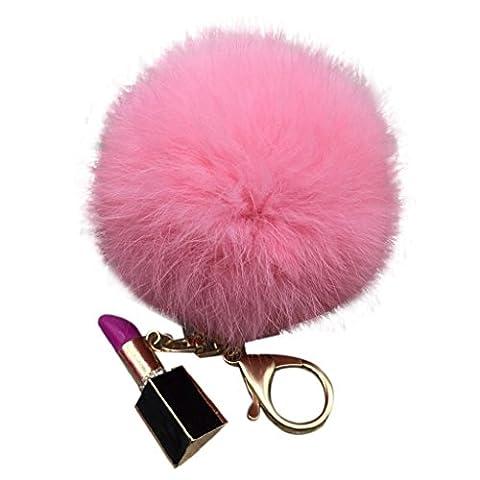 LHWY Fourrure de lapin de Faux moelleux Ball Bowknot charme voiture Keychain (Rose)