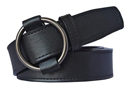Sunshopping Women Black Synthetic Leather Belt