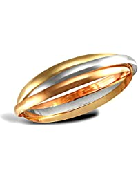 Jewelco London Ladies Solid 9ct Yellow White and Rose Gold Russian Wedding Ring 5mm Bangle Bracelet