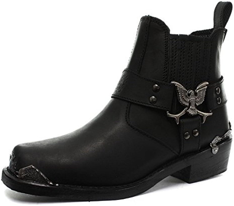 Grinders Nero Eagle Uomini Lo Lo Lo cowboy Moto pelle occidentali Nuovi Stivali | Resistenza Forte Da Calore E Resistente  095849
