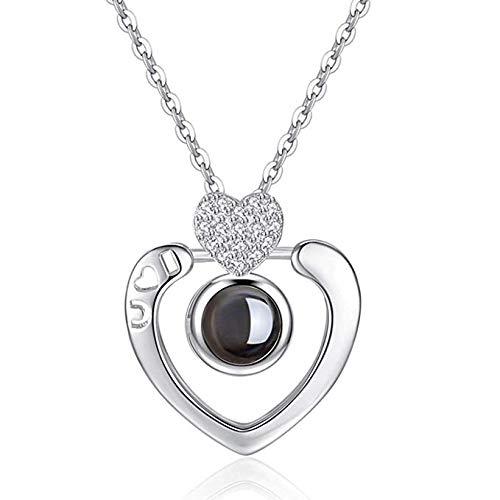 iAmotus Liebevoll Memory Anhänger, 100 verschiedene Sprachen Ich liebe dich Halskette beste Geschenk (Liebe Silber 1)