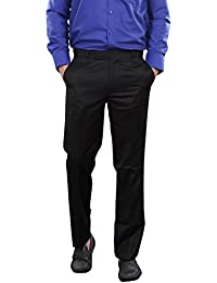 AUDACITY Trousers - Mens Formal Black Cotton Regular Fit Trousers