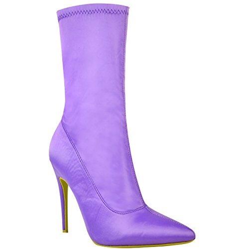 Fashion Thirsty Damen Stiefel IM Stiletto-Look - Elastischer Schaft - Spitz Zulaufend - Fliederfarben Satin – EUR 40