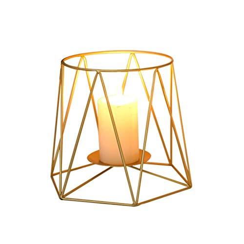 LOFAMI-Windlichthalter Nordic Gold Kerzenhalter Metall Kerzenständer Western Tisch Kerzenlicht Dinner Requisiten Romantische Lampe Liebhaber Ornamente (Color : Gold, Größe : Large) (Western-tisch-lampen)