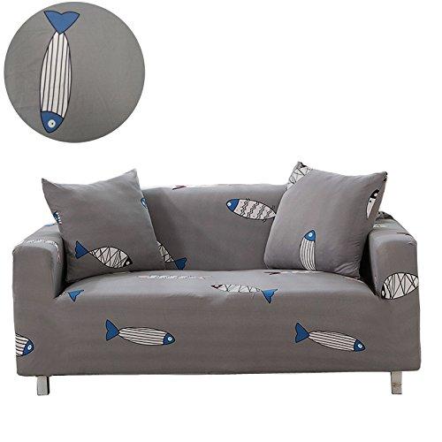 Housses d'oreiller pour canapé Moving Garden - En tissu élastique - A motifs de fleurs et oiseaux - Protection anti-chien, Poisson, 1 Seater