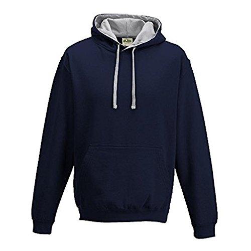 Just Hoods Varsity Sweat à capuche avec capuche couleur contrastée French Navy/Heather Grey