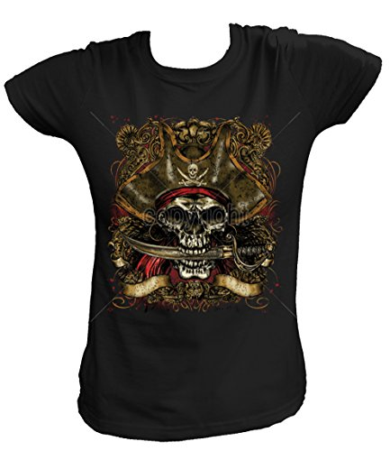 Morgan Kostüm Captain Shirt - Artdiktat Damen T-Shirt - CAPTAIN PIRATE SKULL WITH DAGGER Größe XXL, schwarz