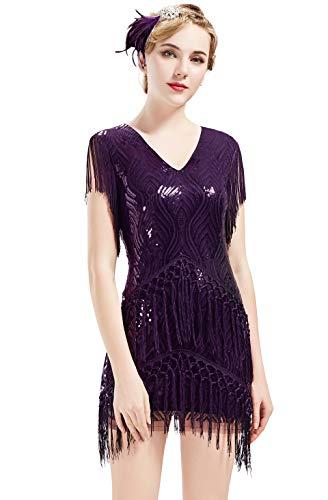 ArtiDeco Damen 1920 flapper-kleid mit fransen equin kleid roaring 20s abendkleid gatsby-kostüm-kleid mit v-ausschnitt vintage-perlen abendkleid S (Roaring 20's Kostüm Frauen)
