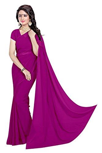 Sidhidata Textile Georgette Saree With Blouse Piece (Plain Jamli 747_Purple_Free Size)