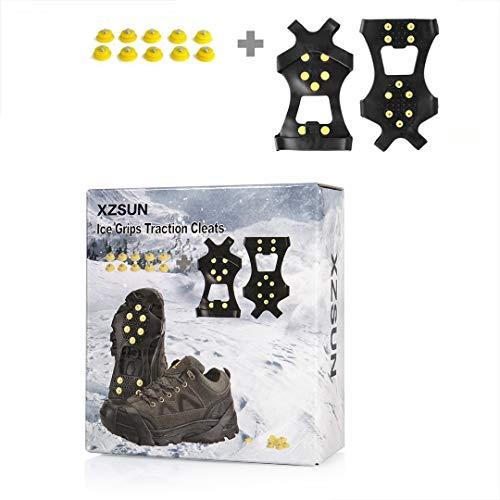 XZSUN - Tacchetti Antiscivolo per Scarpe da Ghiaccio e Neve, 10 Borchie in Gomma TPE con 10 Borchie Extra per Calzature (Taglie: S/M/L/XL), Small(EU:35-37)