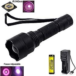 Linterna IR 940nm, Linternas de visión nocturna por infrarrojos Zoom capaz, 38mm lente- Para ser utilizado con dispositivos de visión nocturna y caza