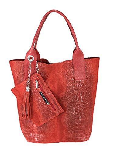 collezione alessandro Weiche Echt Leder Handtasche mit Krokoprägung, ca. 36x27x18,5cm, mit Innentasche und Quaste (rot) - Rot Krokodil Handtasche