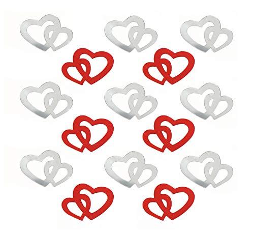 Sweelov 600 STK Doppel Herzen Konfetti siber mit rot Konfetti Tischdeko Hochzeit Herz Konfetti Tisch Deko für Hochzeit Geburtstag Feier Jubiläum Deko -