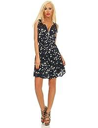 Fashion4Young 11532 Damen Mini Kleid Sommerkleid Ärmellos Blumen Minikleid Reißverschluß