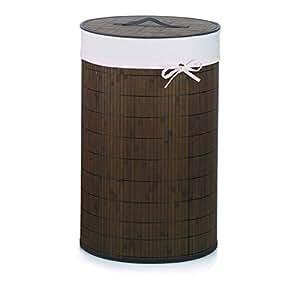 KELA 20984, Wäschekorb, Rund, 63 cm Höhe, Bambus, Mila, Dunkelbraun, 420984