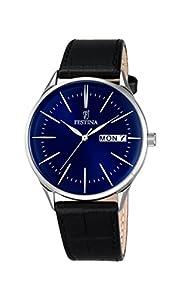 Festina–Reloj de cuarzo para hombre con esfera analógica y negro correa de piel azul f6837/3 de Festina