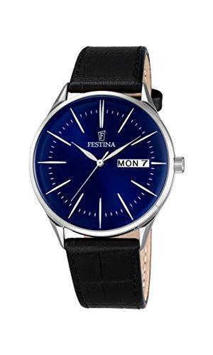 Festina Herren Analog Quarz Uhr mit Leder Armband F6837/3