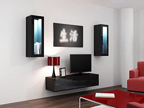 Wohnwand VIGO 8, Anbauwand, Wohnzimmer Möbel, Hochglanz !!! Mit LED Beleuchtung !!!
