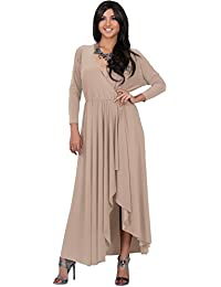 Koh Koh Damen langen Ärmeln asymmetrisch Drapierung durchhauen Maxi-Kleid